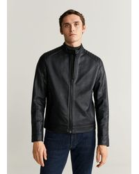 Mango Faux-leather Biker Jacket - Black