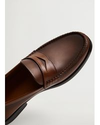 Mango Leather Penny Loafers Leather - Brown