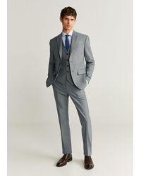Mango Slim Fit Microstructure Tailored Waistcoat Gray