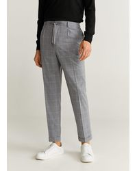 Mango Tapered Fit Checked Trousers Light Heather Grey