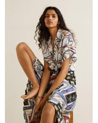018f4f0de Mango Pleated Midi Skirt in Natural - Lyst