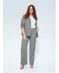 Mango Gingham Suit Pants Black