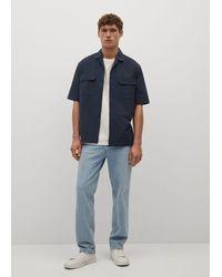 Mango Camicia regular-fit seersucker - Blu
