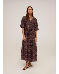 Mango - Floral Print Dress Maroon - Lyst