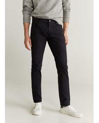 Mango Slim Fit Denim-effect Serge Trousers Black