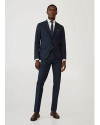 Mango Slim Fit Suit Blazer - Blue