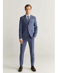 Mango Pinstripe Slim Fit Suit Blazer Sky Blue