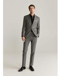 Mango Katoenen Tailored Slim-fit Overhemd - Zwart