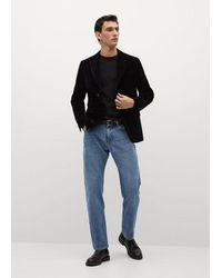 Mango Veste de costume slim-fit velours - Noir