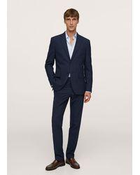 Mango Slim Fit Check Suit Blazer - Blue