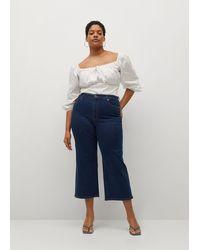 Violeta by Mango Mid Waist Culotte Jeans - Blue