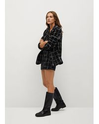 Mango Check Tweed Miniskirt - Black