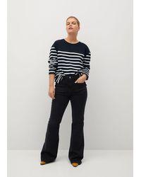 Violeta by Mango Striped Combi Sweatshirt - Black
