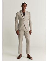 Mango Houndstooth Linen Slim Fit Blazer - Brown