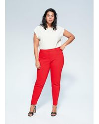 Mango Slim Fit Suit Trousers - Red