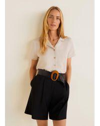 Mango - Linen-blend Short-sleeve Shirt - Lyst