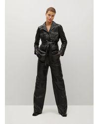Mango Belt Leather Jacket - Black