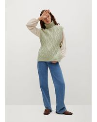 Mango Turtleneck Knitted Gilet - Green