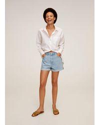 Mango Rolled-up Hem Denim Shorts - Blue