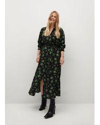 Violeta by Mango Floral Print Dress - Black
