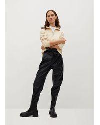 Mango Darts Faux-leather Trousers - Black