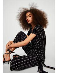 7449e4c9942 Mango Cotton Print Jumpsuit in White - Lyst