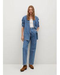 Mango High Waist Darts Jeans - Blue