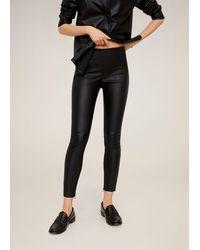 Mango Coated Skinny-fit Trousers - Black