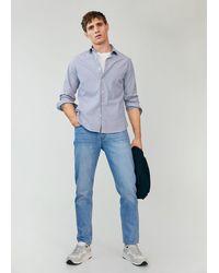 Mango Slim Fit Striped Cotton Shirt - Blue