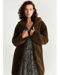 Mango Hooded Faux-fur Coat - Brown