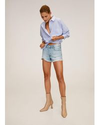 Mango Frayed Hem Denim Shorts - Blue