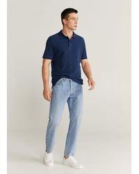 Mango Cotton Denim Polo Shirt - Blue