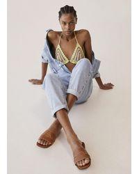 Mango Leather Straps Sandals - Multicolor