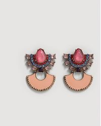 Mango - Crystal Pendant Earrings - Lyst