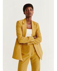 Mango Modal-blend Suit Blazer - Yellow