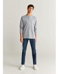 Mango Henley Cotton T-shirt - Grey
