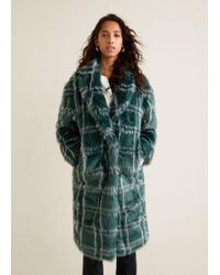 Mango - Checked Faux Fur Coat - Lyst