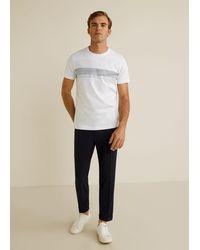 Mango Katoenen T-shirt Met Gestreept Pand - Wit