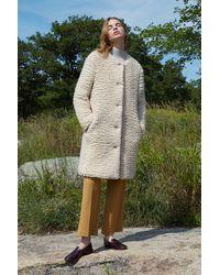 Mansur Gavriel Furry Cashmere Long Collarless Coat - Creme - Multicolor