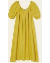 Mansur Gavriel Linen Balloon Sleeve Dress - Yellow