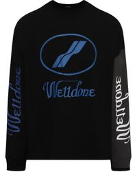 we11done Remake Logo Long Sleeve T-shirt In Black