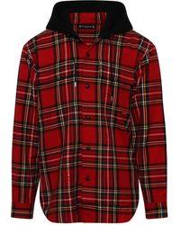 Mastermind Japan Hooded Plaid Shirt In Tartan - Red
