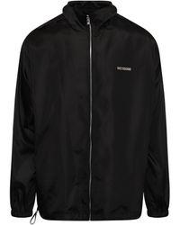 we11done Logo Windbreaker Jacket In Black