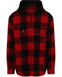 Mastermind Japan Hooded Plaid Shirt In Buffalo - Red