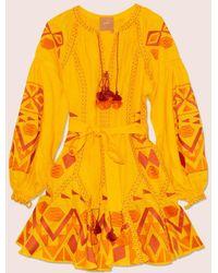 MARCH11 Kilim Mini Flared Dress In Yellow