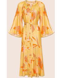 MARCH11 Alex Print Summer Midi Dress In Yellow