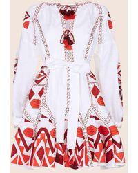 MARCH11 Kilim Mini Flared Dress In White
