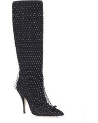 Marco De Vincenzo Boots With Crystal Mesh - Black