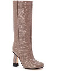 Marco De Vincenzo Croc-quilted Patent Eco-leather Boots - Brown