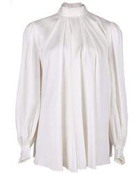 Alexander McQueen Ivory Silk High Neck Blouse - White